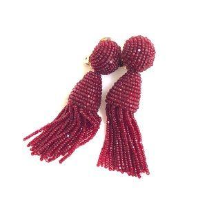 Red Burgundy Oscar de la Renta clip on earrings